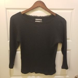 Urban Outfitters Black Fitted 3/4 Sleeve Blouse L